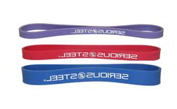 """Serious Steel Fitness 12"""" Resistance Band #1#2#3 Set"""