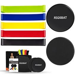 Tabiger Resistance Bands for Legs and Butt, Core Sliders and