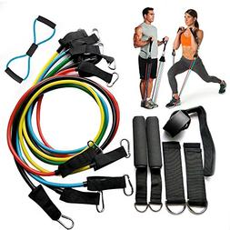 Resistance Bands 12 Piece Set Exercise Fitness Workout Bands