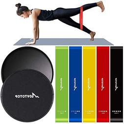 MOVTOTOP Resistance Bands and Core sliders-Set of 7- Profess