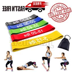 Resistance Bands Loop Set of 5 Yoga Exercise Gym Fitness Wor