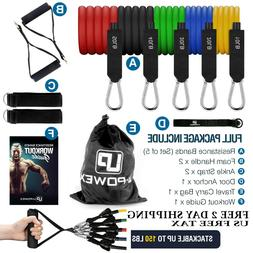 UPOWEX Resistance Bands Set – 5 Stackable Exercise Bands -