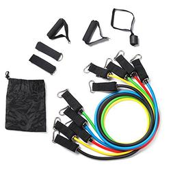 Resistance Bands 11 Piece Set - 5 Stackable Exercise Bands,W