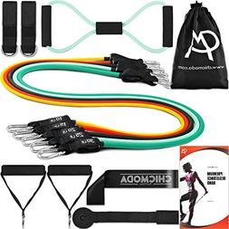 CHICMODA 14pc Resistance Bands Set Exercise Bands with 5 Tub