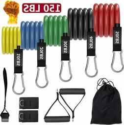 Resistance Bands Set Stackable Up to 150 lbs Muscle Building