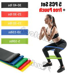 Resistance Loop Bands 5 PCS Set Strength Fitness Exercise Yo
