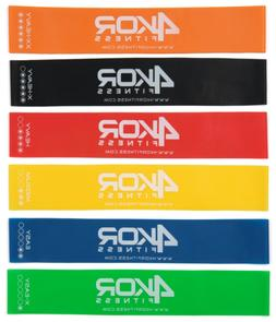 4 KOR Fitness Set of 6 Resistance Loop Bands  with Carrying