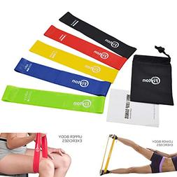 Fiyton Resistance Mini Loop Exercise Bands Set of 5 with Ins
