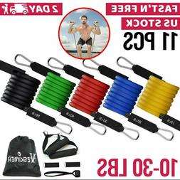 Resistance Tubes Bands Exercise Fitness Workout Train Elasti