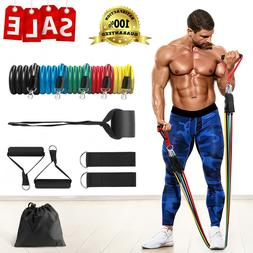 Resistance Tubes Bands Set Door Ankle Straps ABS Exercise At