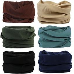 MAKLULU 6pc Seamless Bandanna Tube Headwear Scarf Wrap,12-in