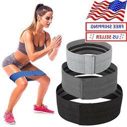 Set of 3 Fabric Fitness Resistance Bands, Anti Slip Loop Ban
