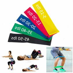 Set of 5 Resistance Exercise Loop Bands Home Gym Fitness Pre