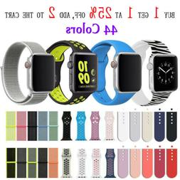 Silicone Nylon Sport Band Strap for Apple Watch Series 4 3 2