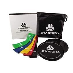 Core Sliders and Resistance Bands, 2 Gliding Discs, 5 Resist