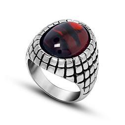 Beydodo Stainless Steel Thumb Rings Men Vintage Red Agate St