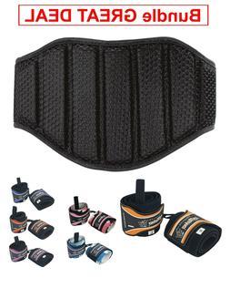 "Weight Lifting Belt 8"" with Wrist Wraps Fitness Workout - Bu"