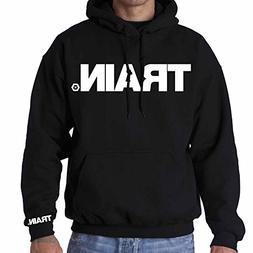 EliteFTS Men's White Train Logo Hood L Black