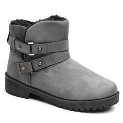 JOYBI Women's Winter Warm Snow Boots Comfortable Suede Buckl