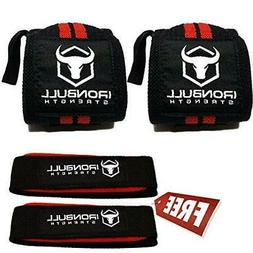 Iron Bull Strength Wrist Wraps & Lifting Straps Combo
