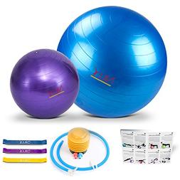 Yoga and Pilates Exercise Ball – 2 Pack Fitness Balls for